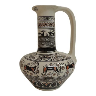 Etruscan Greek Hand Painted Amphora with Handle