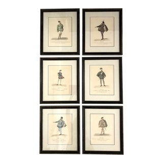 1570 French Theatre Costume Lithographs, Set of 6