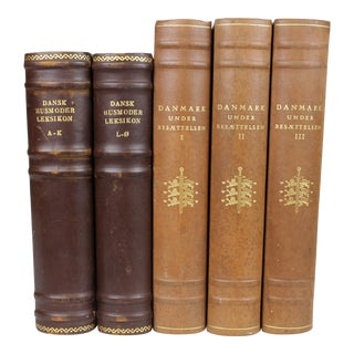 Large Antique Leather-Bound Books S/5