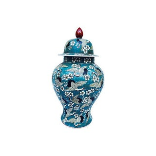 Blue Oriental Crane & Flower Jar