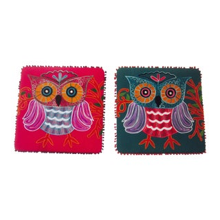Embroidered Owl Wall Decor - Pair