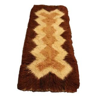 "Vintage Flokati Wool Shag Rug Runner 2' 4"" x5' 11"""