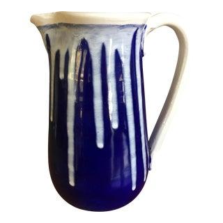 Studio Pottery Cobalt & White Lanier Pitcher