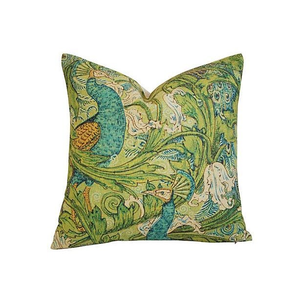 Lush Floral & Peacock Linen Pillows- A Pair - Image 3 of 8