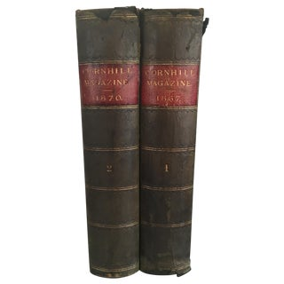 Antique 1800's Leather Bound Books - Pair