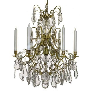 Baroque Chandelier, 6 Polished Brass Pendants