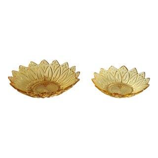 Sunflower Motif Amber Glass Serving Bowls - A Pair