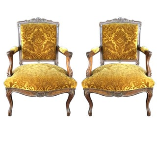 Antique Golden Damask Armchairs - A Pair