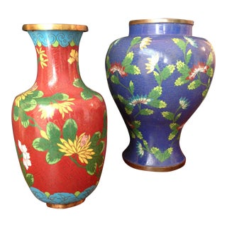 Chinese Cloisonne Vases - A Pair