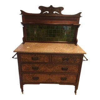 Antique Victorian Marble & Tile Washstand