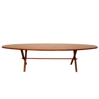 Modern Walnut Oval Coffee Table