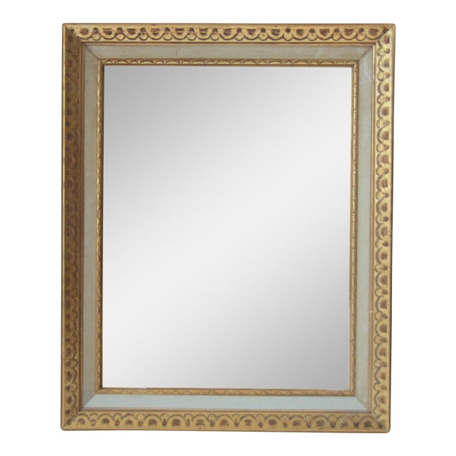 Florentine Mid-Century Gold and White Framed Mirror - Image 1 of 4