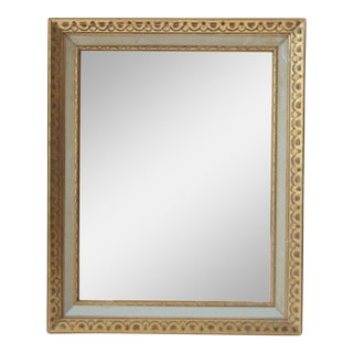 Florentine Mid-Century Gold and White Framed Mirror