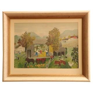 Grandma Moses Pumpkin Harvest Framed Print