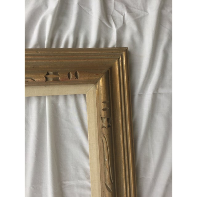 Large Mid-Century Gold Carved Gold Wood Frame - Image 9 of 11