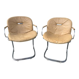 1970s Gastone Rinaldi for Rima Linea Chrome Tubular Chairs - A Pair