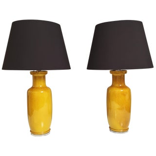 Mid-Century Porcelain Yellow Lamps - A Pair