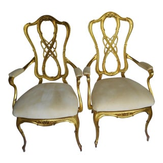 Rococo King Queen Arm Chairs - a Pair