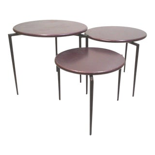 Aubergine Round Tripod Nesting Tables - Set of 3