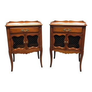 Vintage French Provincial Cherry Nightstands - A Pair