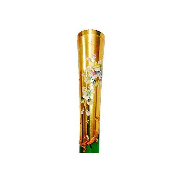 Emerald & Gold Bohemia Glass Vase - Image 5 of 5