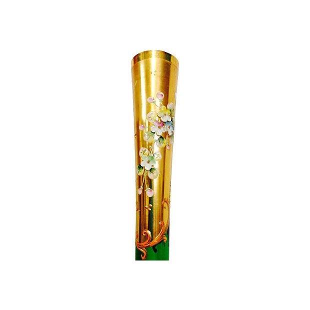 Image of Emerald & Gold Bohemia Glass Vase