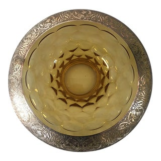 Amber Glass With Heavy Silver Overlay Centerpiece