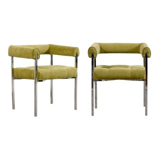 Beautiful Milo Baughman Style Chrome Armchairs in Lime Chenille