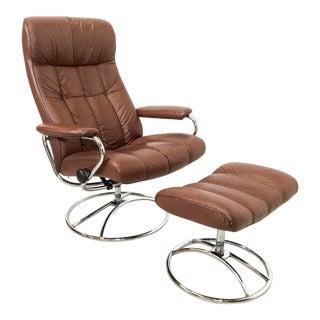 Ekornes Leather Stressless Lounge & Ottoman