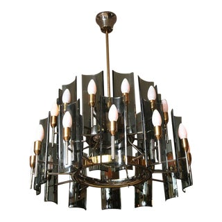 Mid-Century Curved Smoked Glass Chandelier by Fontana Arte