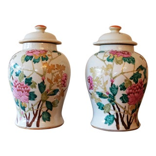 Chinese Floral Peony Urns - A Pair