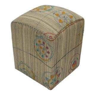 Arya Barton Kilim Upholstered Handmade Ottoman