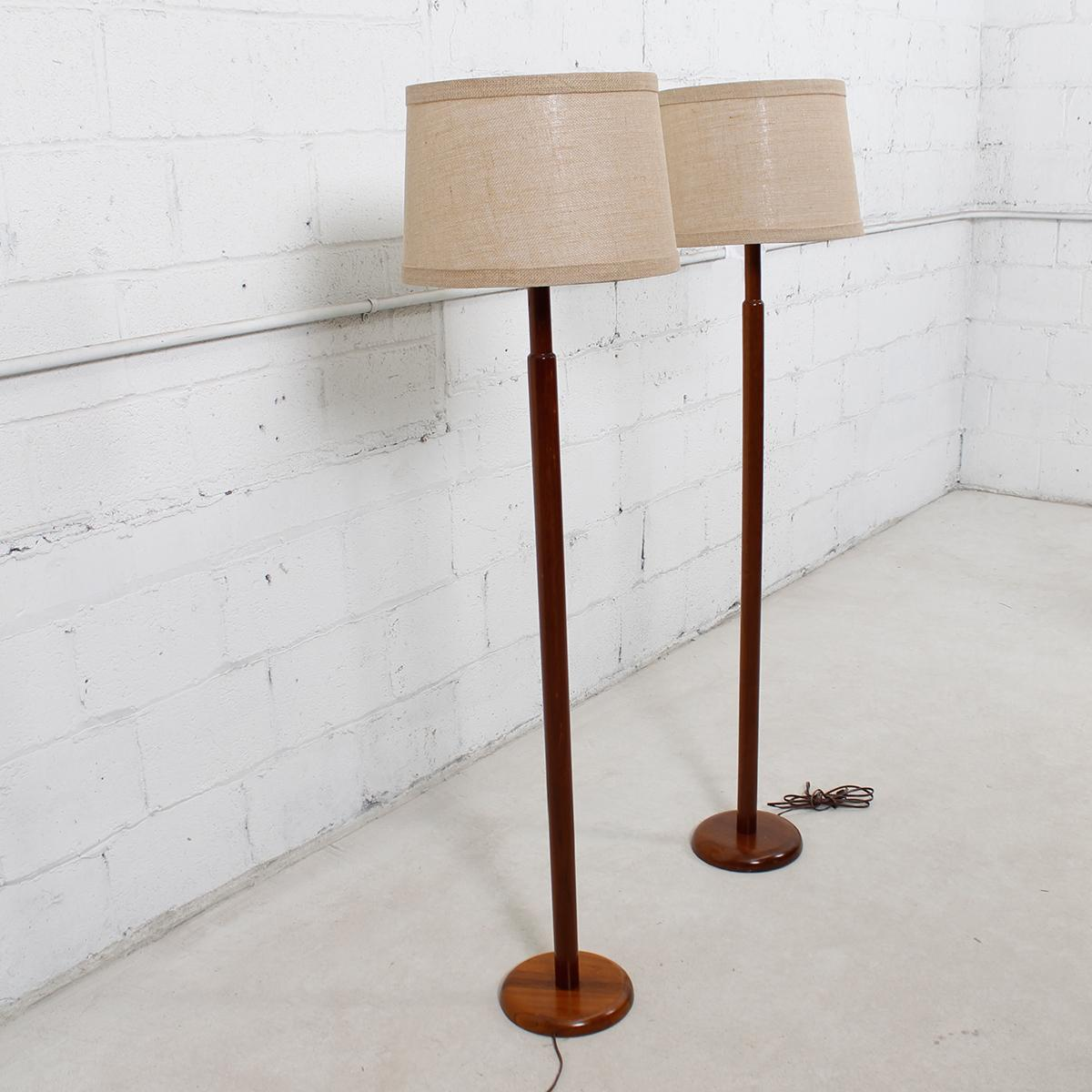 image of martz for marshall studios wood floor lamps pair