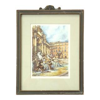 Vintage Rome Trevi Fountain Print