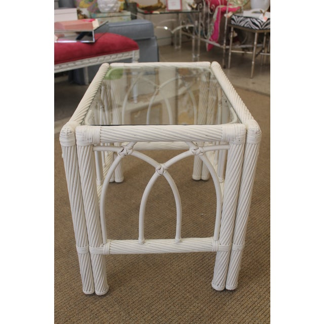 White Vintage Cane End Tables - A Pair - Image 5 of 6