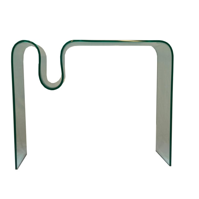 Solid Bent Glass Console Table - Image 3 of 7
