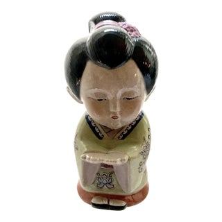 Antique Japanese Geisha Girl Ceramic Sculpture