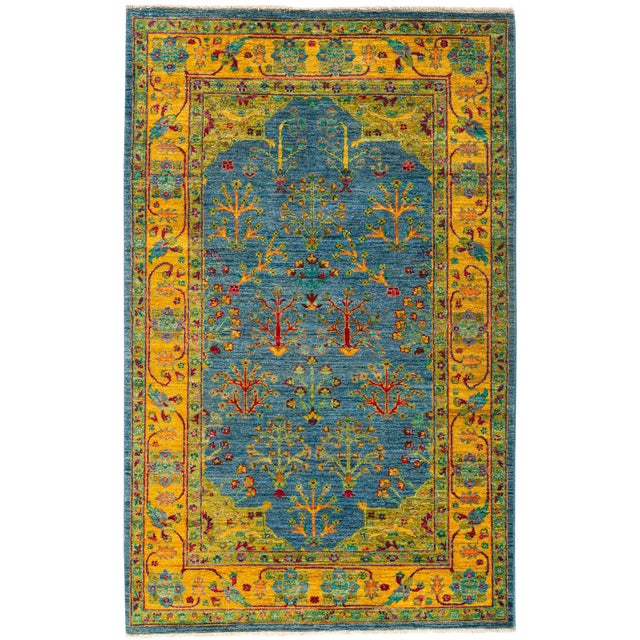 "New Blue Hand-Knotted Rug - 4'1"" X 6'7"" - Image 1 of 3"