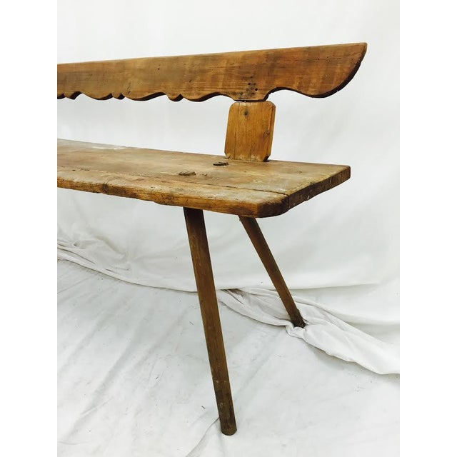 Antique Wooden Farm Bench - Image 7 of 10