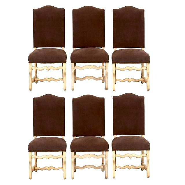 Set of 6 French Os De Mouton Louis XIII Bleached Oak Upholstered Dining Chairs - Image 1 of 8