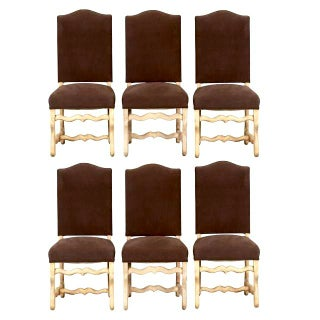 Set of 6 French Os De Mouton Louis XIII Bleached Oak Upholstered Dining Chairs
