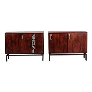 Rosewood Cabinets with Brutalist Hardware - A Pair
