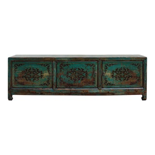 Chinese Vintage Teal Blue Green Flower Graphic Low TV Console Cabinet