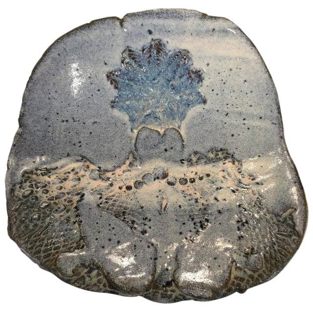 Oversized Sculptural Blue Glazed Earthenware Plate - Image 1 of 4