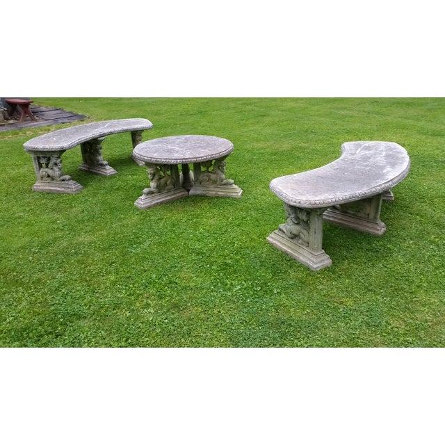 garden architectural patio set bench table concrete