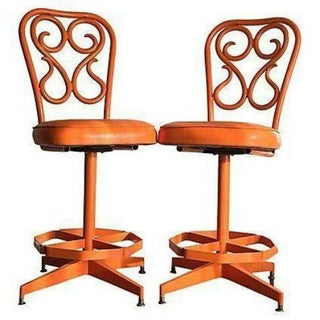 Retro 1970's Orange Swivel Stools - A Pair