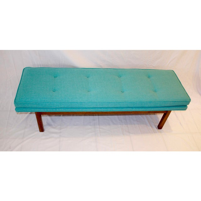 Mid-Century Tufted Turquoise Bench - Image 3 of 8