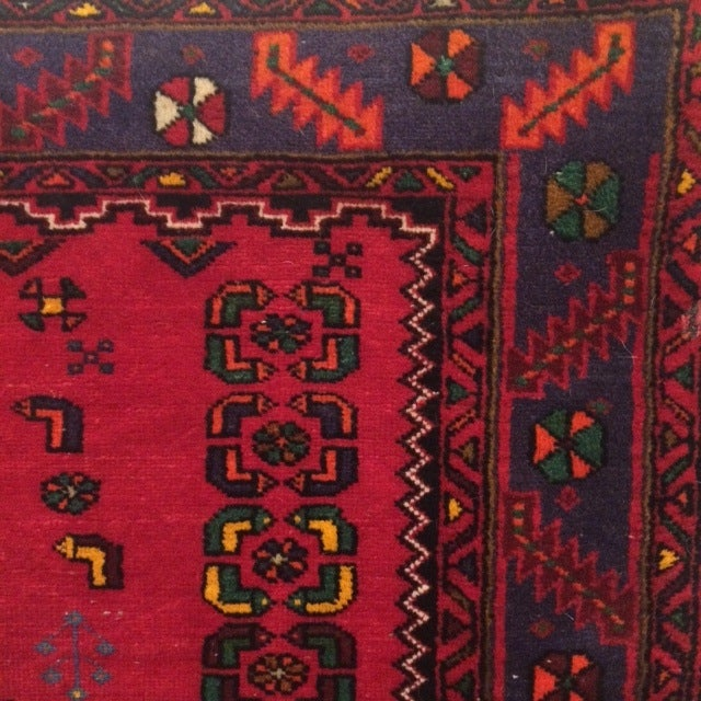 Image of Vintage Blue and Red Persian Rug - 3′12″ × 6′2″