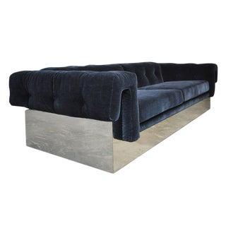 Milo Baughman Chrome Case Sofa in Blue Mohair