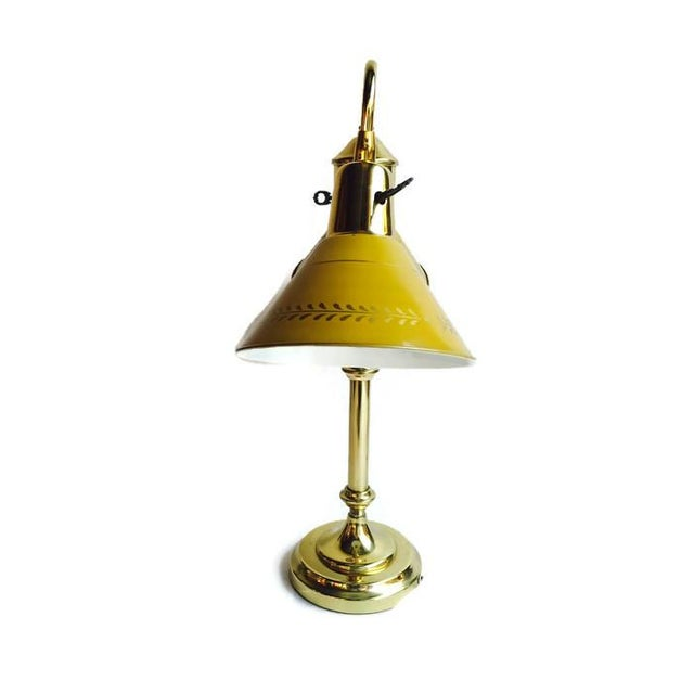 Image of Vintage Tole Ware Bankers Lamp Double Brass Shades